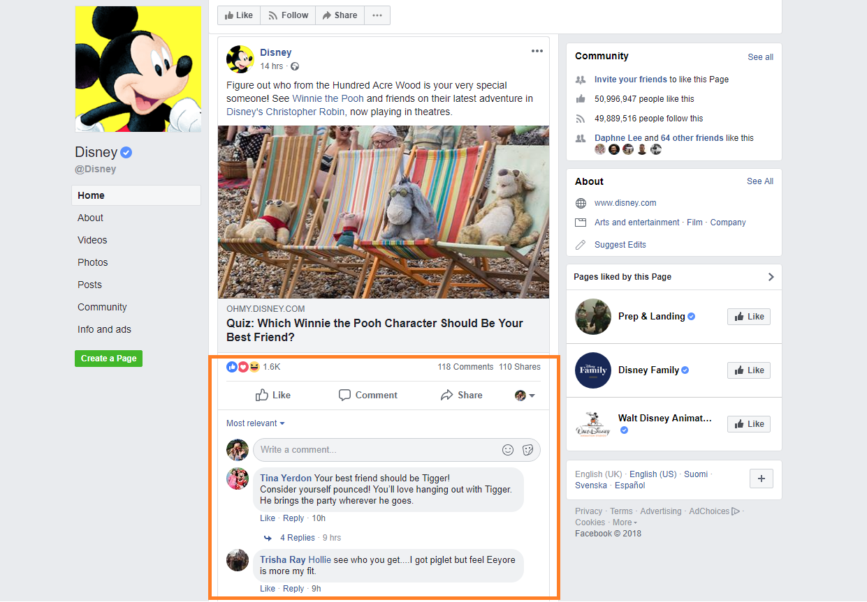 Comments on listed Page posts