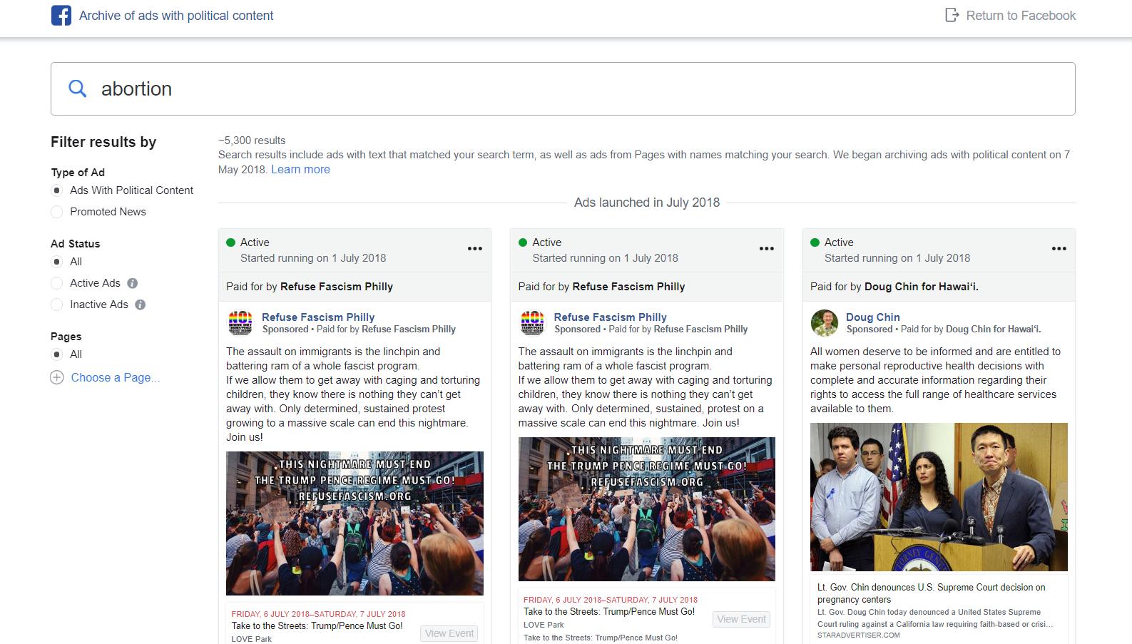 Facebook political ads archive