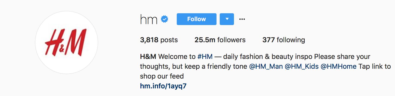 H&M Instagram 2