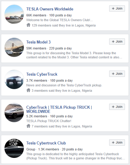 Tesla Facebook Groups