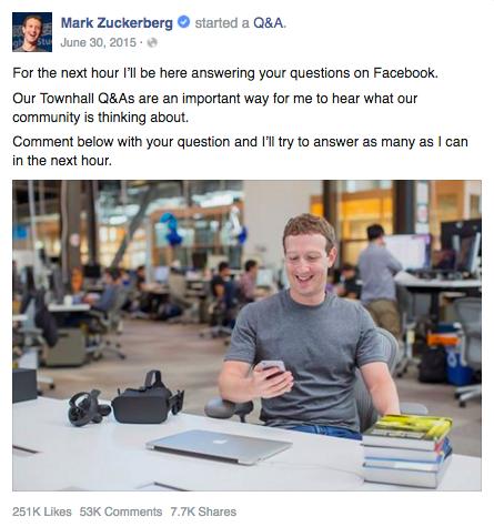 Mark Zuckerburg Facebook