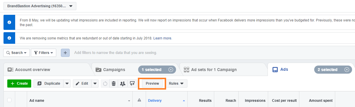 Preview Ad on Facebook Ads Manager